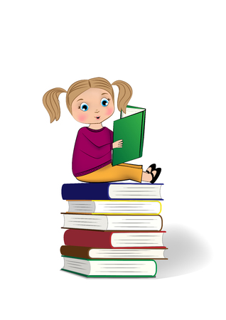 little girl sitting on the top of stack of books and reading isolated on the white background, vertical vector illustration