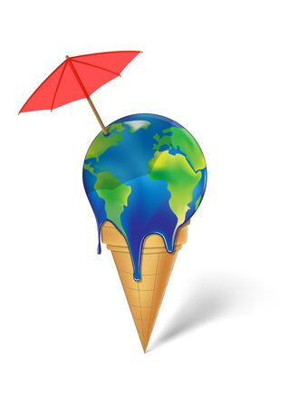 earth  ice cream with red coctails umbrella is melting isolated on a white background vertical vector illustration 向量圖像