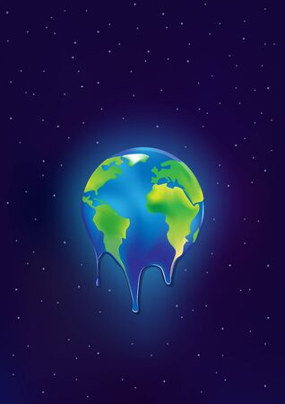 earth  ice cream is melting on a dark blue stars background vertical vector illustration