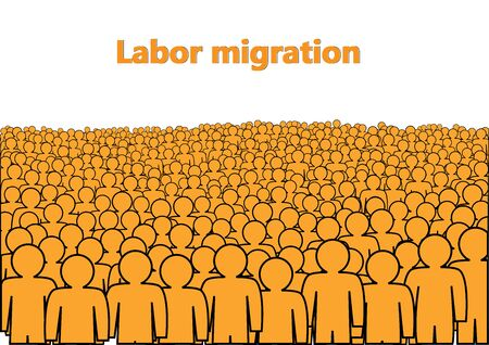 labor migration poster, a crowd of orange abstract  people isolated on a white background horizontal  vector illustration