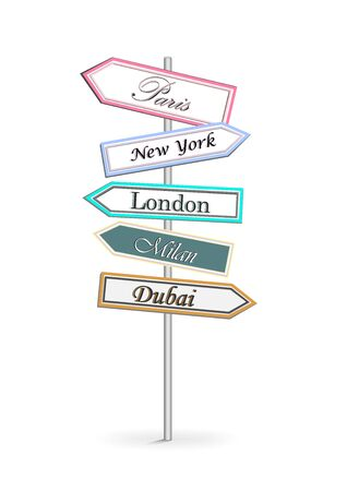 multicolor road signs Shopping Citi isolated on white background vertical vector illustration