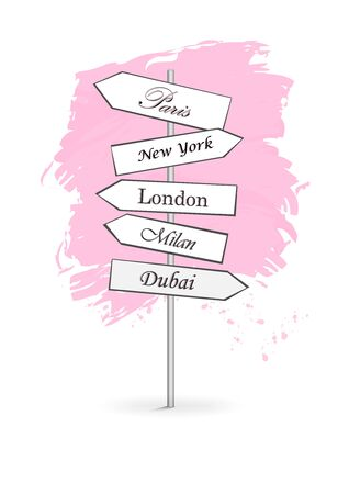 pink road signs Shopping Citi isolated on white background vertical vector illustration