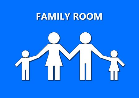 family simple shape white silhouettes and text family room isolated on a blue background, shadow, horizontal vector illustration 向量圖像