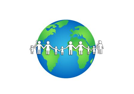 white paper people around earth isolated on a white background horizontal vector illustration Vettoriali