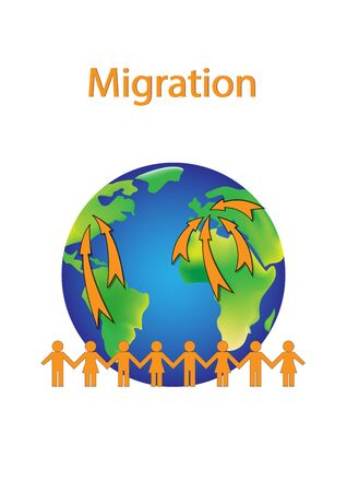 migration poster, orange people shapes and earth isolated on a white background vertical vector illustration