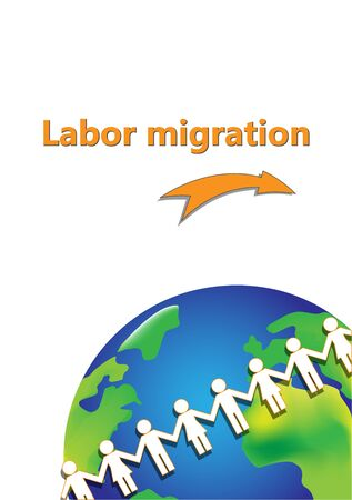 labor migration poster, white paper people are around earth isolated on a white background vertical  vector illustration
