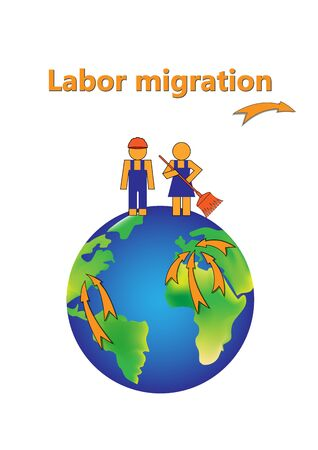 labor migration poster, abstract man and woman are on the earth isolated on a white background vertical  vector illustration