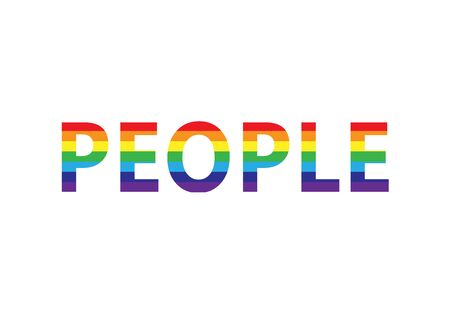 word people in rainbow colors, lgbt simbol, horizontal vector illustration isolated on a white background Vettoriali