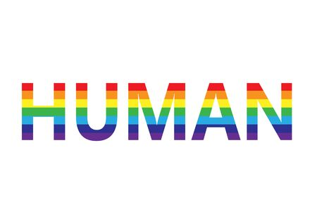 word human in rainbow colors, lgbt simbol, horizontal vector illustration isolated on a white background