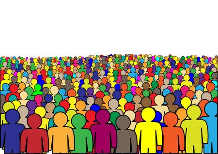crowd of multicolor abstract people isolated on a white background horizontal  vector illustration