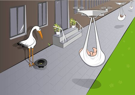 sad stork begs for alms, and quadcopters deliver babies, horizontal vector illustration