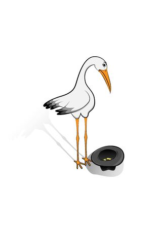 sad stork begs for alms, global digitalization concept vector illustration isolated on a white background, vertical