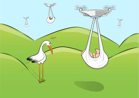 sad stork and quadcopters deliver babies, horizontal vector illustration 向量圖像
