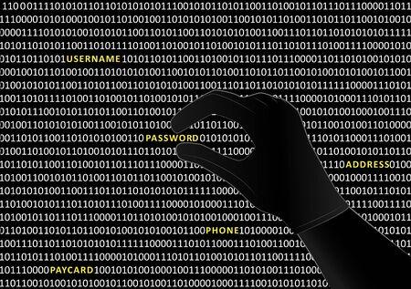 gehandschoende hackerhand neemt het woord wachtwoord van binaire code op zwart scherm, horizontale vectorillustratie Vector Illustratie