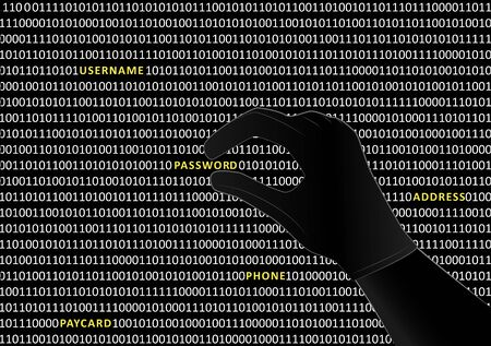 gloved hacker hand takes the word password from binary code on black screen, horizontal vector illustration