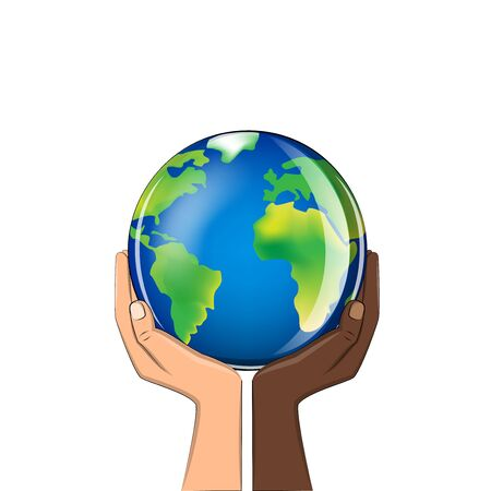 delicate glass planet in the hands of people of different races isolated on a white background square vector illustration
