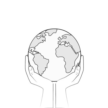 bw earth in human hands isolated on a white background, outline style square vector illustration