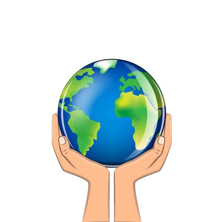 delicate glass planet in human hands isolated on a white background square vector illustration