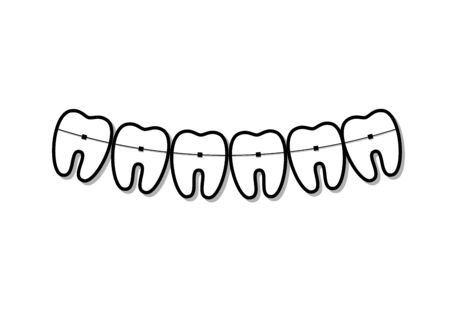 black and white teeth symbols in smile shape with braces on them, isolated on a white background horizontal vector illustration