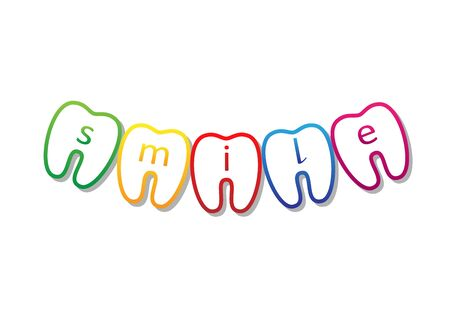 multicolored smile teeth symbol with smile word on them, isolated on a white background horizontal vector illustration