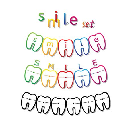 set of smile teeth symbols with braces and smile word on them, isolated on a white background square vector illustration Vettoriali