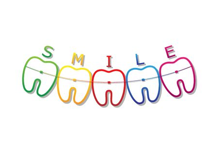 teeth symbols in smile shape with braces and smile word on them, isolated on a white background horizontal vector illustration Vettoriali