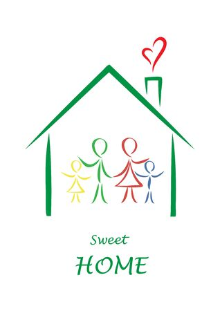 sweet home colored poster, family simple color doodles in a house isolated on a white background, vertical vector illustration
