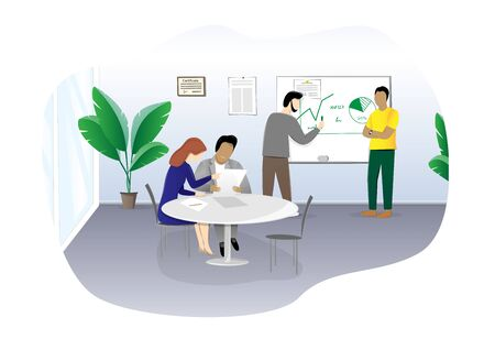 people sitting at a table in the office and discussing a business plan, horizontal vector illustration isolated on a white background