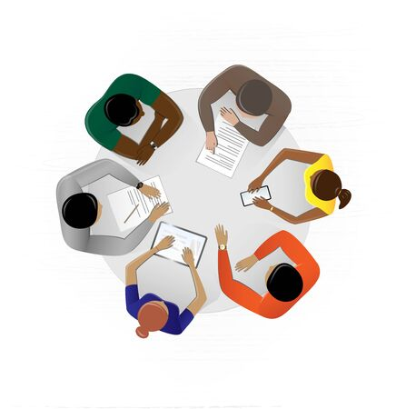 top view people sitting at the table in the office and discussing a business plan, square vector illustration on a white background