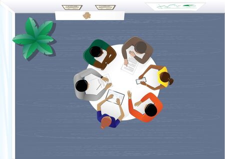 top view people sitting at the table in the office and discussing a business plan, plant, horizontal vector illustration in blue colors Illustration