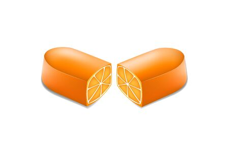 two halves of a pill with an orange in a cut, vitamin c concept, horizontal vector illustration isolated on a white background