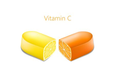 two halves of a pill with an orange and lemon in a cut, vitamin c concept, horizontal vector illustration isolated on a white background