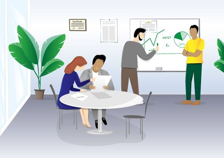 people sitting at a table in the office and discussing a business plan, horizontal vector illustration