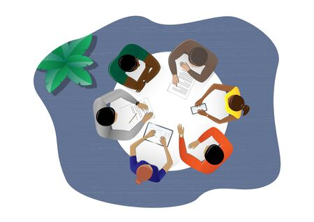 top view people sitting at the table in the office and discussing a business plan, plant, horizontal vector illustration on a white background Vettoriali