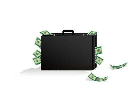 suitcase with a lot of money, isolated on a white background horizontal vector illustration Vettoriali