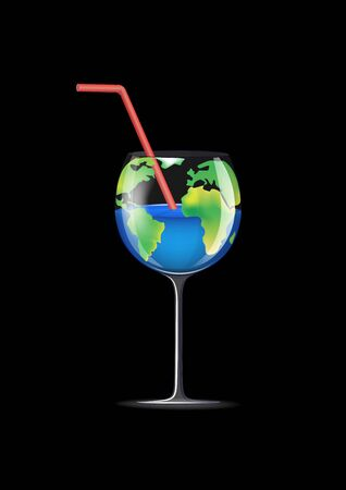 concept wineglass planet isolated on a black background vertical vector illustration
