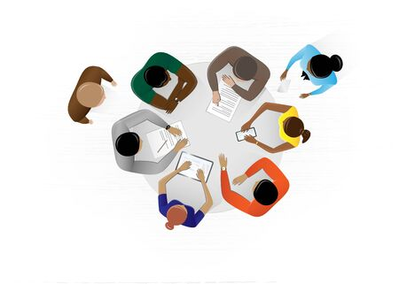 top view people sitting at the table in the office and discussing a business plan, horizontal vector illustration on a white background