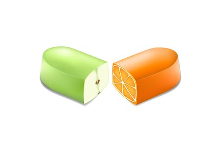 Two halves of a pill with an orange and apple in a cut Vettoriali