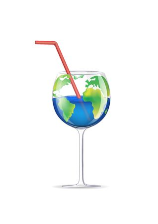 concept wineglass planet isolated on a white background vertical vector illustration