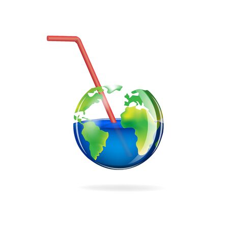 concept delicate glass planet isolated on a white background square vector illustration