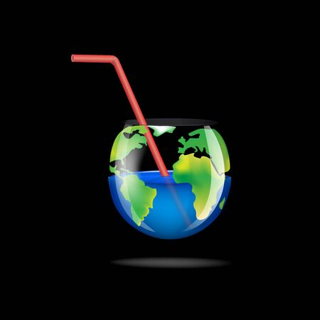 concept glass planet isolated on a black background square vector illustration Vettoriali