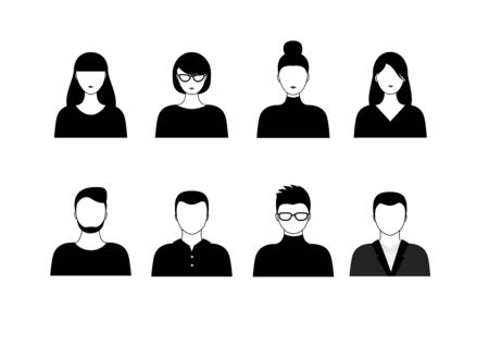 set of different black and white people isoated on white background horizontal vector illustration