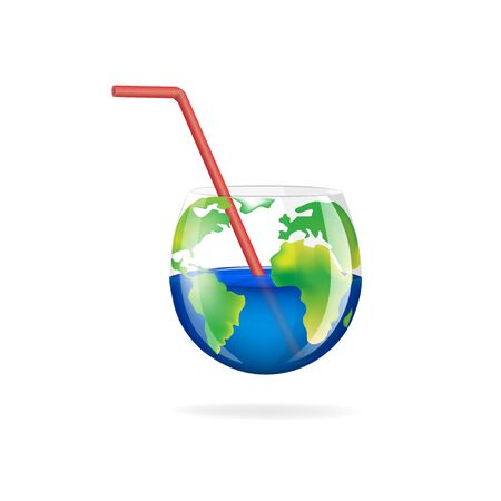 concept glass planet isolated on a white background square vector illustration Vettoriali