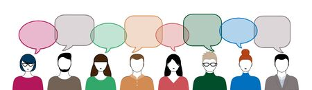 different color people and speech bubbles isoated on white background horizontal vector illustration