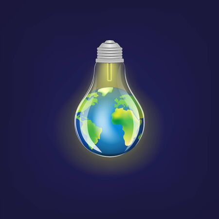 concept green energy, lighting electric lamp and earth on a dark blue background square vector illustration Vettoriali
