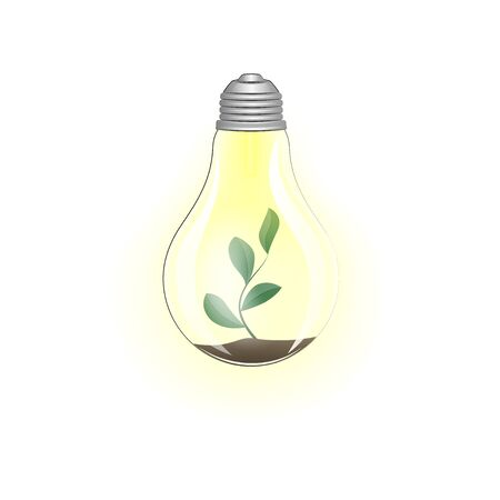 concept green energy, lighting electric lamp and plant on a white background square vector illustration