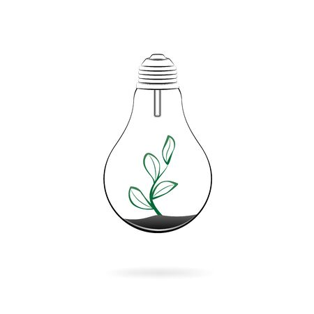concept green energy, electric lamp and plant isolated on a white background square vector illustration Vettoriali