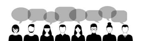 different black and white people and speech bubbles isoated on white background horizontal vector illustration