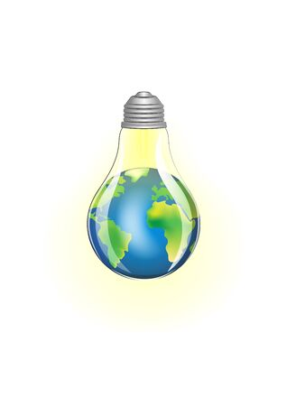 concept green energy, lighting electric lamp and earth on a white background square vector illustration Vettoriali