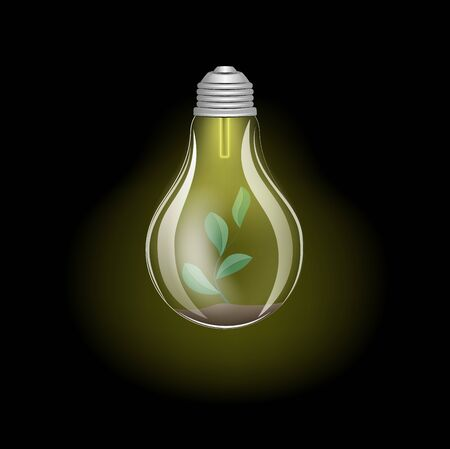 concept green energy, lighting electric lamp and plant on a black background square vector illustration